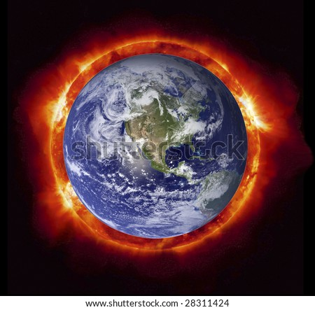 Concept of the Sun burning the planet Earth (Nasa imagery). - stock photo