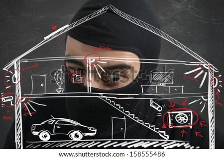 Concept of thief apartment with plant of a house - stock photo