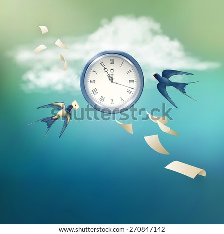 Concept of time abstract metaphor background. Free flying bird swallow in the sky, white clouds, antique clock, flying paper sheets - stock photo