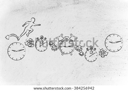 concept of time management: man running on clocks, stopwatches, alarms & gearwheels