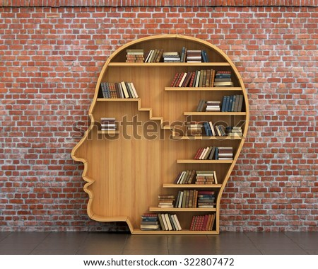 concept of training wooden bookshelf full of books in form of man head on a - Picture Of Book Shelf