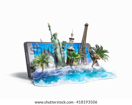 concept of travel, landmarks look out for the sea wave the phone screen, online ordering vouchers, beautiful background for Camping & Outdoor theme, 3d illustration - stock photo