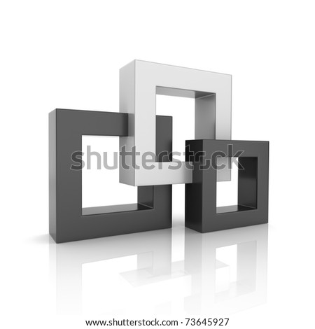 Concept of unity with 3 frames (black collection) - stock photo