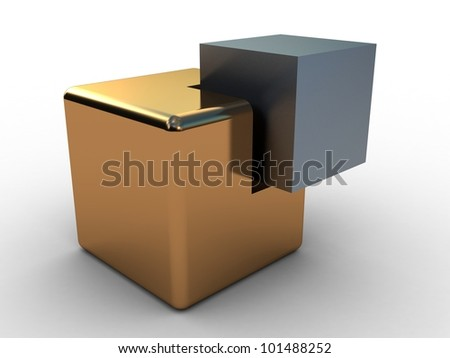Concept of unity with two cubes , 3D images - stock photo