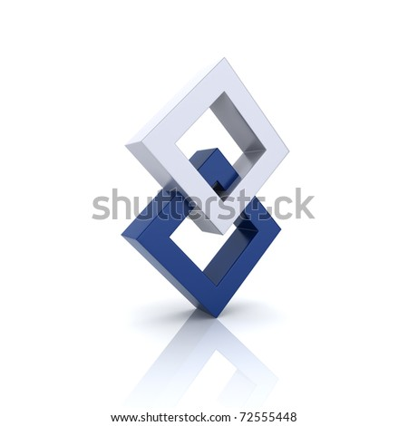 Concept of unity with two rhombs (blue collection) - stock photo