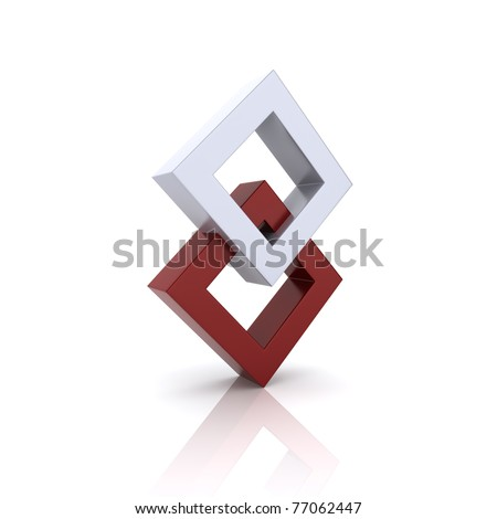 Concept of unity with two rhombs (red collection) - stock photo