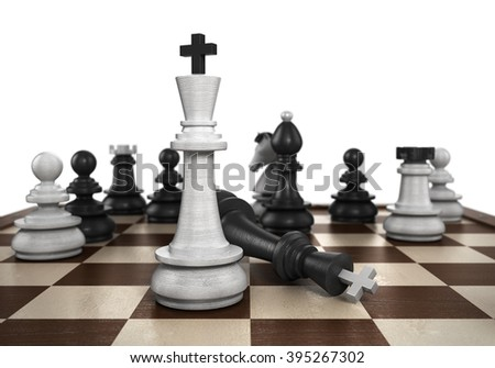 concept of victory  the resulting mat set the player to play black chess - stock photo
