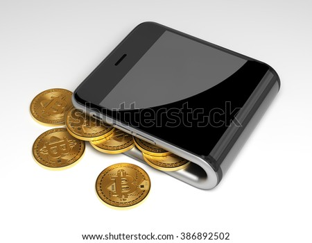 Concept Of Virtual Wallet And Bitcoins. 3D Scene. - stock photo
