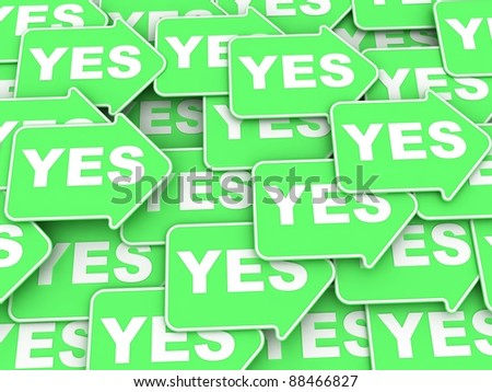 "Concept of voting: some green arrows with a word ""Yes"" - stock photo"