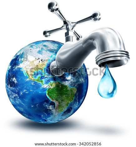concept of water conservation in America - Usa, elements of this image furnished by NASA  - stock photo