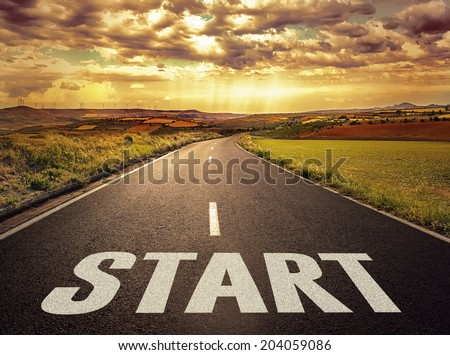 Concept of way to successful future. Beautiful landscape of straight highway at the sunset.   - stock photo