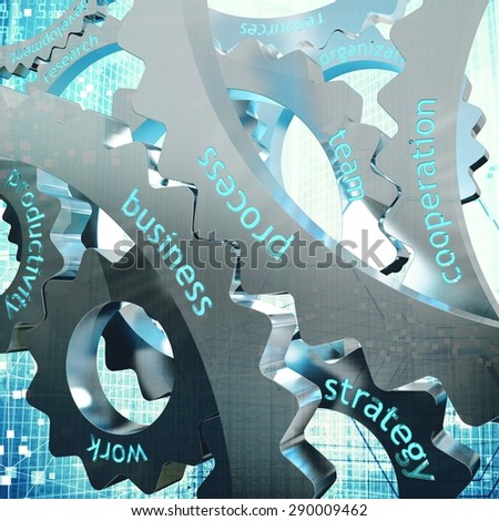 Concept of work as joint between gear - stock photo