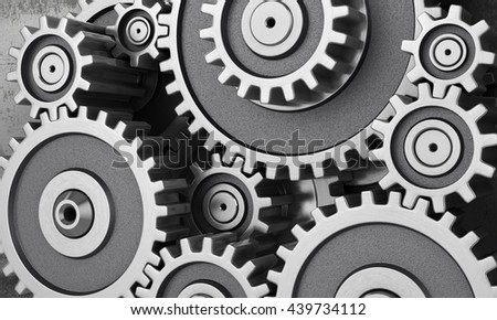 Concept of work. Mechanism of gears. 3d illustration - stock photo