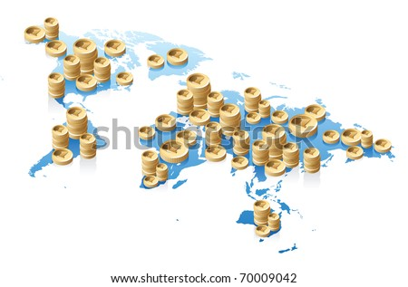 Concept of World map and money. Raster version. Vector version is also available. - stock photo
