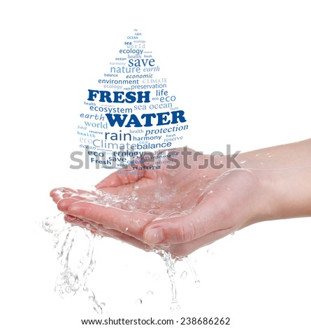 Concept of world's fresh water reserve, words in drop shape in hands isolated on white - stock photo