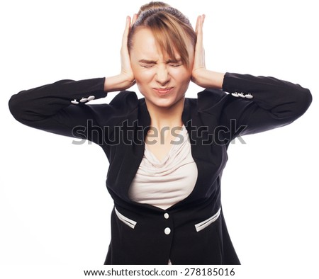 Concept of worried, shock, fear. Businesswoman terrified hold hand on head. Isolated over white background - stock photo