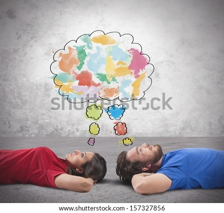Concept of young couple who thinks something - stock photo