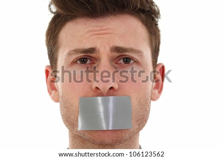 Concept of young man sad and censored - stock photo