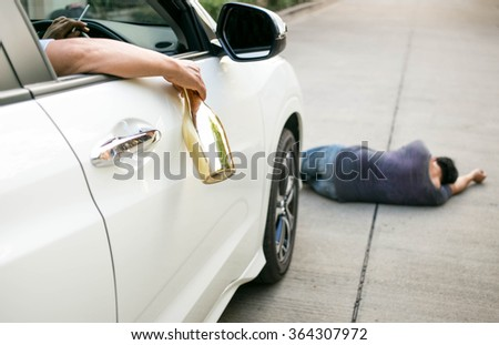 Concept on drinking and driver cause an accident  for other people - stock photo