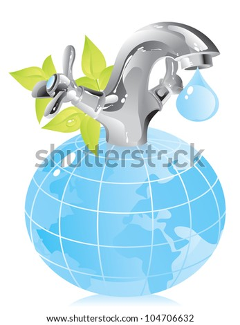 concept on the conservation of natural resources - water - stock photo