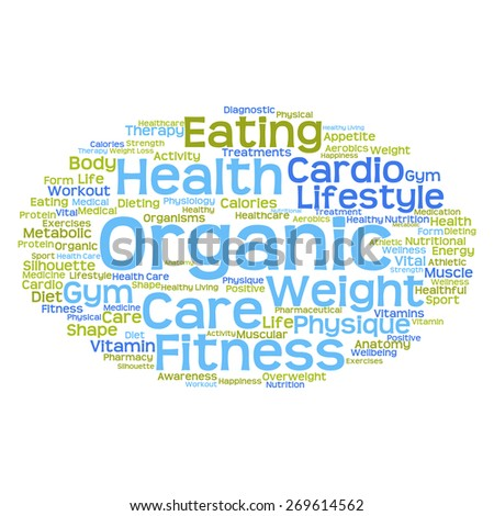 Concept or conceptual abstract health word cloud or wordcloud on white background - stock photo
