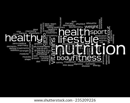 Concept or conceptual abstract nutrition health word cloud or wordcloud on black background - stock photo