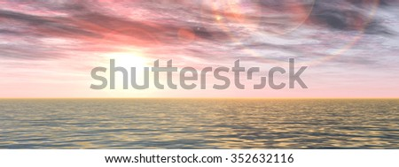 Concept or conceptual beautiful seascape with water and waves and a sky with clouds at sunset banner as a metaphor for nature, romantic, dramatic, light, evening, morning, peace, atmosphere or weather