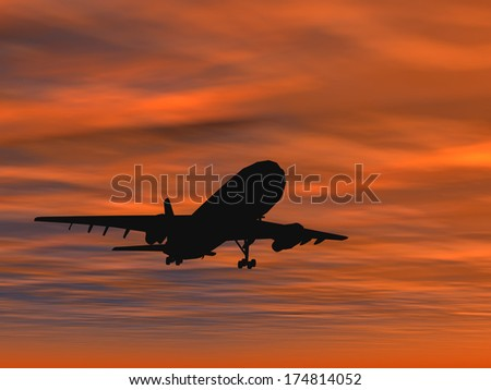 Concept or conceptual black plane, airplane or aircraft silhouette flying over sky at sunset or sunrise background, for air, travel, transportation, jet, flight, transport, business, vacation, tourism - stock photo