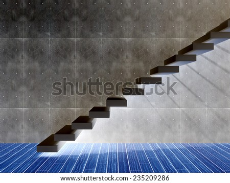 Concept or conceptual black stone or concrete stair or steps near a wall background with wood floor, metaphor to architecture, success, climb, business, staircase, rise, achievement, growth or future