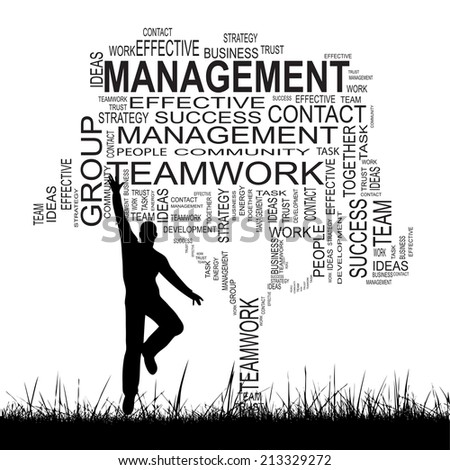 Concept or conceptual black text word cloud isolated on grass, a man jumping, white background, metaphor for business, team, teamwork, management, effective, success, company, group or symbol - stock photo