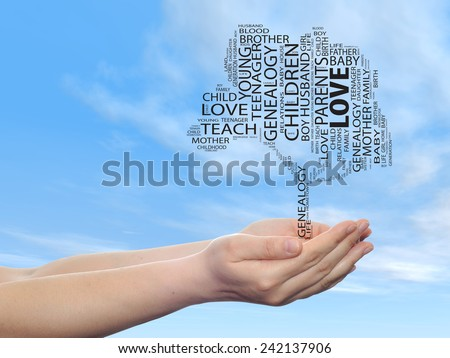 Concept or conceptual black text word cloud or tagcloud tree on man or woman hand on blue sky background, metaphor to child, family, education, life, home, love and school learn or achievement - stock photo