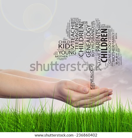 Concept or conceptual black text word cloud tagcloud as tree on man or woman hand on rainbow sky background and grass, metaphor to child, family, education, home, love and school learn achievement
