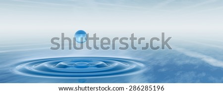 Concept or conceptual blue liquid drop falling in water with ripples and waves background banner  metaphor to nature, natural, summer, spa, drink, cool, business, environment, rain or health design - stock photo