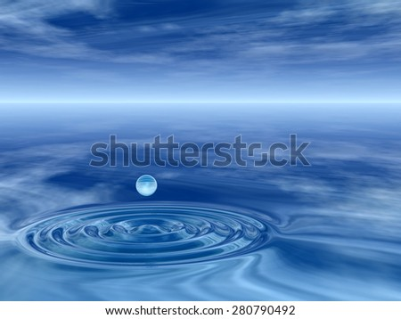 Concept or conceptual blue liquid drop falling in water with ripples and waves background metaphor to nature, natural, summer, spa, drink, cool, business, environment, rain or health design - stock photo