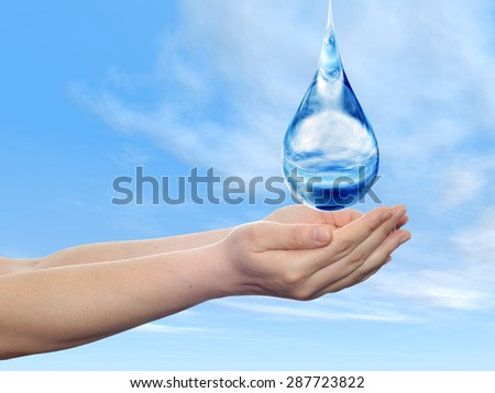 Concept or conceptual blue water or liquid drop falling in two woman hands, blue sky, clouds background, for splashing, palm, clear, purity, freshness, nature, clean, health, rain, environment, drinks - stock photo