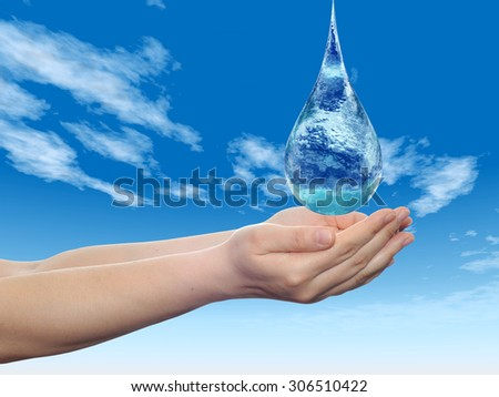 Concept or conceptual blue water or liquid drop falling in two woman hands on blue sky background  for splashing, palm, clear, purity, freshness, nature, clean, health, rain, environment, drinks - stock photo