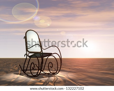 Concept or conceptual brown and white wood or wooden armchair standing in desert under a spotlight over a sky with clouds at sunset background for career,job,rest,ecology,freedom,crisis or difficulty
