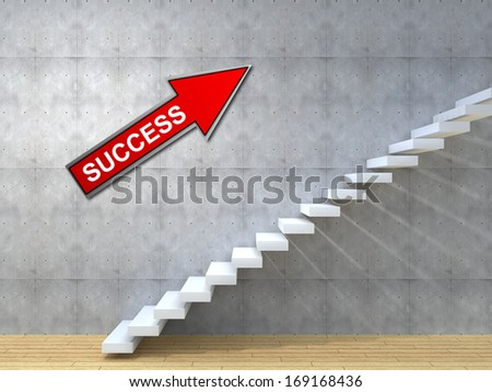 Concept or conceptual brown wood or wooden stair or steps near a wall background on  floor,metaphor to architecture,success,climb,business,staircase,stairway,rise,achievement,growth,hope or future - stock photo
