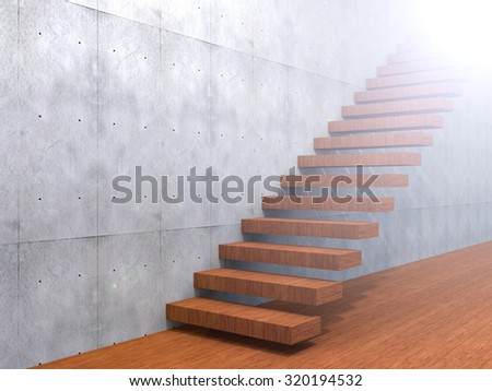 Concept or conceptual brown wood or wooden stair or steps near a wall background on  floor metaphor to architecture, success, climb, business, staircase, rise, achievement, growth or future