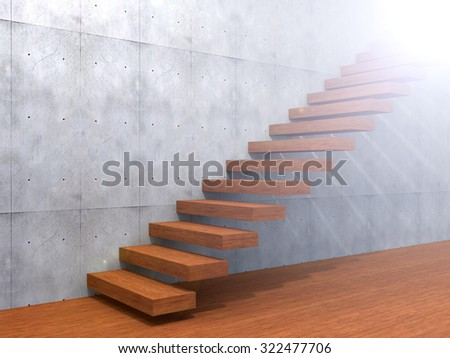 Concept or conceptual brown wood or wooden stair or steps near a wall background on  floor metaphor to architecture, success, climb, business, staircase, rise, achievement, growth, hope or future