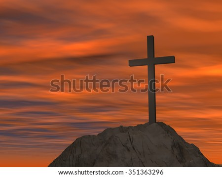 Concept or conceptual cross religion symbol shape over sunset sky with clouds background metaphor to God, Christ, Christianity, lige, religious, faith, holy, spiritual, Jesus, belief or resurection - stock photo