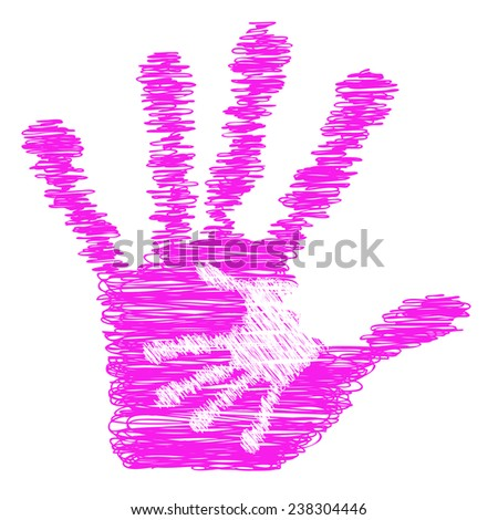 Concept or conceptual cute pink drawing paint hands of mother and child isolated on white for art, care, childhood, family, fun, happy, infant, symbol, kid, little, love, mom, motherhood or young - stock photo
