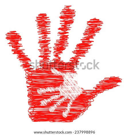 Concept or conceptual cute red drawing paint hands of mother and child isolated on white for art, care, childhood, family, fun, happy, infant, symbol, kid, little, love, mom, motherhood or young - stock photo
