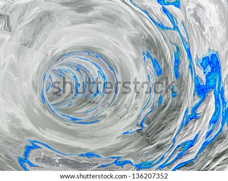 Concept or conceptual 3D abstract perspective render of a futuristic curve tunnel or tube background with water,blue or liquid as metaphor to deep,earth,nature,fresh,spring underwater or light - stock photo