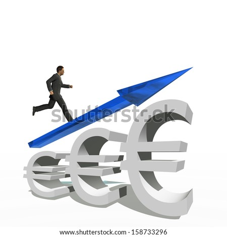 Concept or conceptual 3D blue glass euro symbol with arrow pointing up isolated on white background with businessman as a metaphor for business,finance,money,growth,success,stock,currency or economy - stock photo