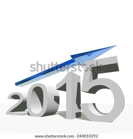 Concept or conceptual 3D blue 2015 year and arrow, metaphor to success, growth, graph, future, finance, financial, new year, holiday, increase, rise, date, career, forecast or progress or for december - stock photo