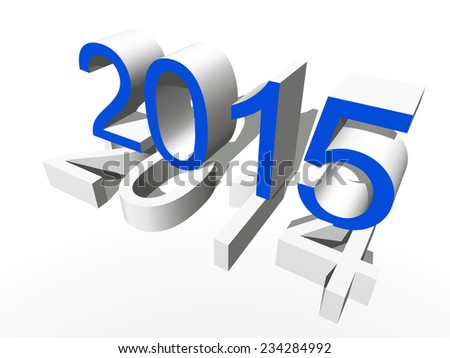 Concept or conceptual 3D blue 2015 year isolated on white background metaphor to holiday, symbol, Christmas, calendar, happy, eve, December, January, time, change, season, new year or winter graphic - stock photo