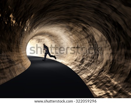 Concept or conceptual 3D business man, dark road tunnel with bright light at the end background metaphor to hope, freedom, exit, life, faith, speed, dream, success, vision, future, fear or salvation - stock photo