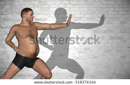 Concept or conceptual 3D fat or overweight and slim fit young man on diet over vintage brick wall background metaphor weight loss, body, fitness, fatness, obesity, health, healthy, male, dieting shape