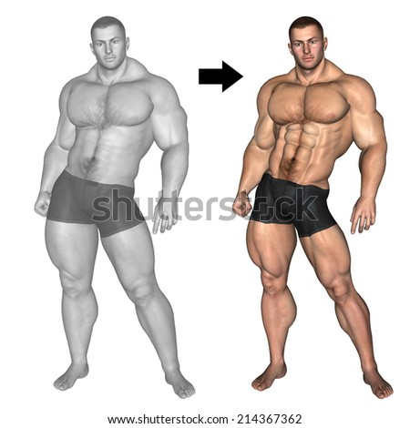 Concept or conceptual 3D fat overweight vs slim fit with muscles young man on diet isolated on white background, metaphor weight loss, body, fitness, obesity, health, healthy, male, dieting or shape - stock photo